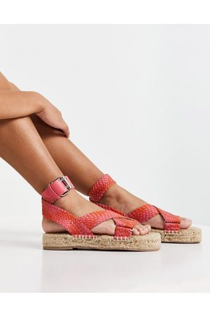 ASOS Mujer Alpargatas - Jealous leather espadrilles in pink and red weave