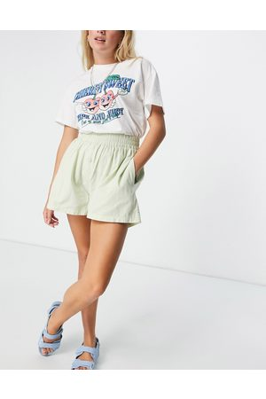 Cotton On Mujer Shorts - High waisted pull on short in mint stripe