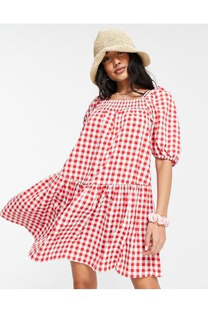 QED London Square neck mini smock dress in red gingham