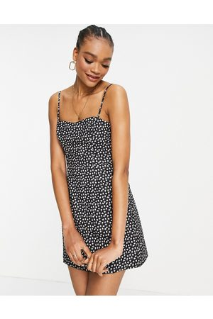 French Connection Mujer Cortos - Mini dress in black ditsy print