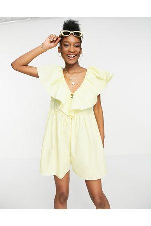 ASOS Cotton poplin ruffle playsuit in yellow