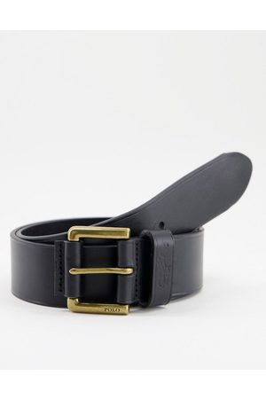 Polo Ralph Lauren Leather belt in black with logo and gold buckle