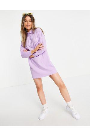Lola May Mujer Polos - Long sleeve polo shirt dress in lilac