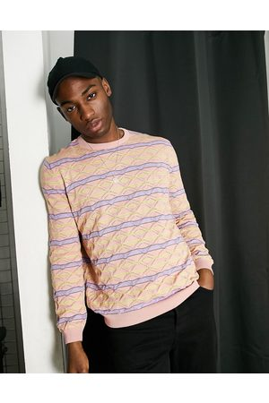 ASOS Hombre Suéteres cerrados - Knitted pointelle jumper with stripe design in pink