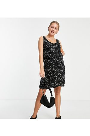 Pieces Maternity Mini shift dress in black ditsy floral