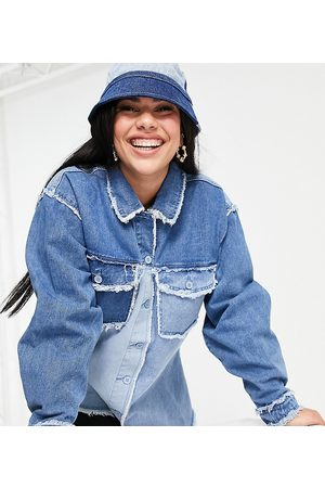 Missguided Oversized shirt with fray detail in blue