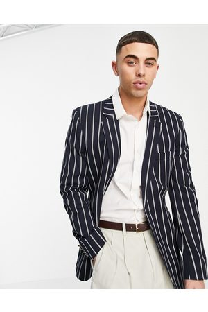 ASOS Skinny stripe blazer with gold buttons in navy