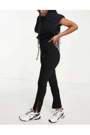 ASOS High waist split hem bengaline trouser in black