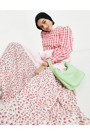 ASOS Long sleeve tiered maxi smock dress in mixed gingham and floral print