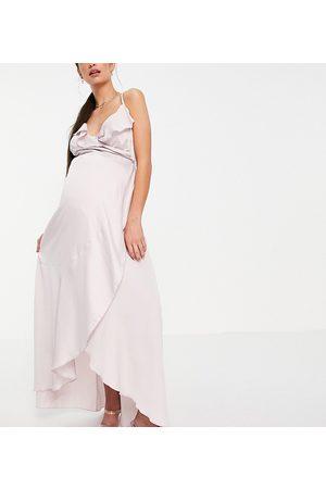 Little Mistress Mujer Vestidos - Ruffle wrap midaxi satin dress in blush