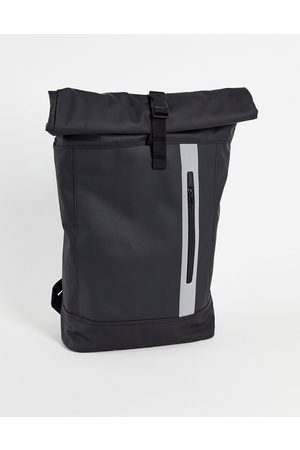 ASOS Hombre Mochilas - Roll top backpack in black rubberised finish and reflective zip detail 20 Litres