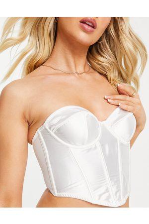 ASOS Mujer Lencería y Ropa interior - Lillian balcony satin padded underwire corset in cream