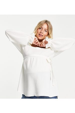 Mama Licious Mamalicious Maternity smock top with square neck and over the bump tie in white