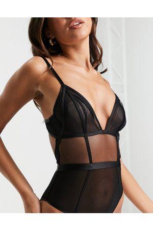 ASOS Ari minimal mesh body with angled elastic in black