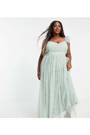 ANAYA Mujer Maxi - Anaya with Love Plus flutter sleeve maxi dress in misty jade tulle