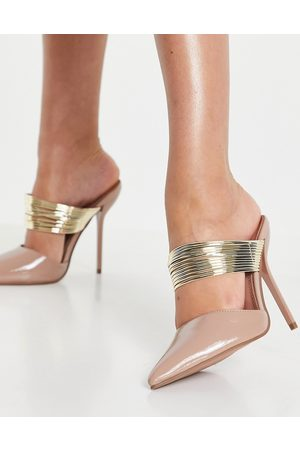 ASOS Peace high heeled mules with piping detail in