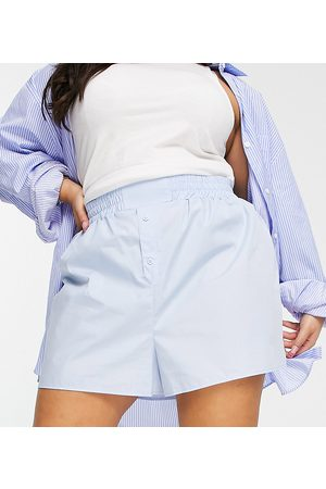 ASOS Mujer Shorts - ASOS DESIGN Curve cotton boxer style short in blue