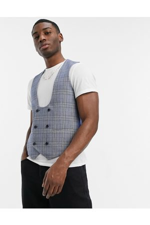 Original Penguin Hombre Chalecos - Checked slim fit waistcoat in blue and yellow