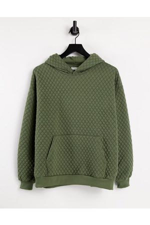 ASOS Oversized quilted hoodie in khaki