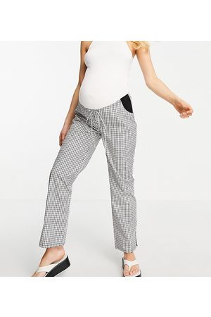 ASOS ASOS DESIGN Maternity straight leg pull on poplin trouser in mono check with side bump band