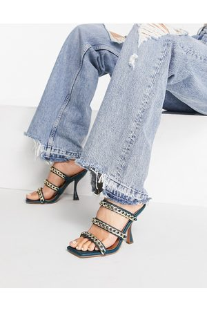 ASOS Nally chain detail heeled mules In teal