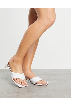 ASOS Hydra premium leather toe thong heeled sandals in white