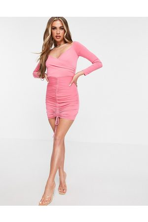 Flounce London Ruched bardot bodycon mini dress in pink