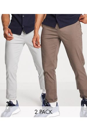 ASOS 2 pack slim chinos in brown and light grey save