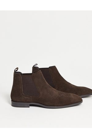 ASOS Chelsea boots in brown suede with black sole