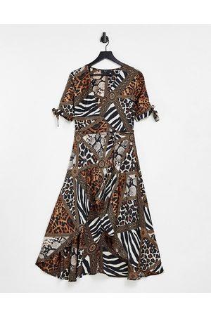 Ax Paris Plunge wrap dress in mix&match animal