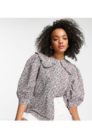 Miss Selfridge Oversized collar shirt in ditsy print