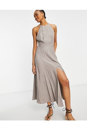 French Connection Mujer Maxi - Due drape midaxi dress in walnut grey