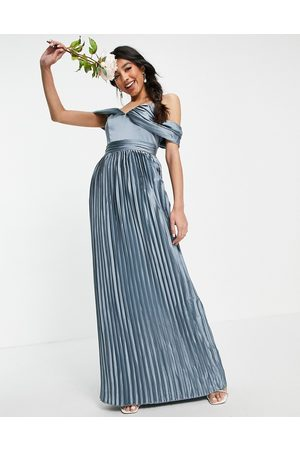 Chi Chi London Lauren satin dress in blue