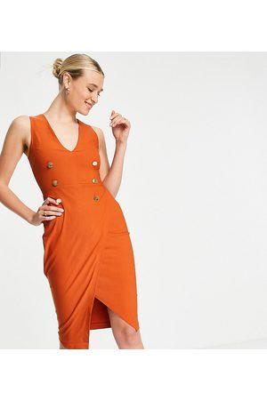 Vesper Tuxedo midi dress in rust