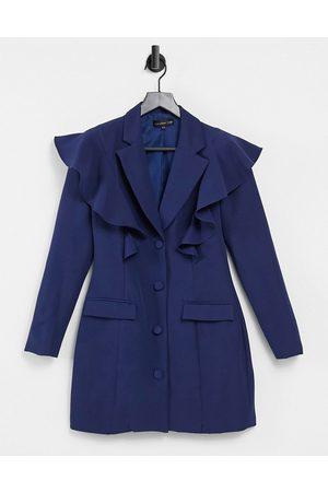 Love & Other Things Frill detail blazer dress in navy
