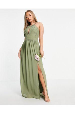 TFNC Mujer Vestidos de noche - Bridesmaid pleated maxi dress in dusky green
