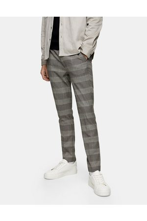 Topman Stretch skinny trousers in neutral check