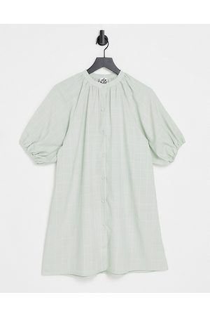 Lola May Puff sleeve shirt dress in sage green