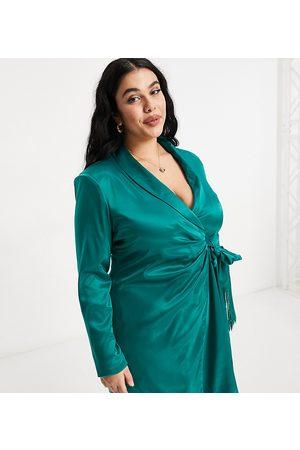 Saint Genies Blazer dress with fringe detail in emerald green