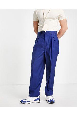 ASOS High waist slim in navy linen