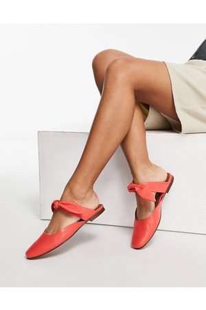 ASRA Felicity flat mules with bow in red