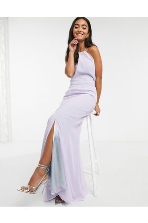 Chi Chi London Lace back maxi dress in lilac