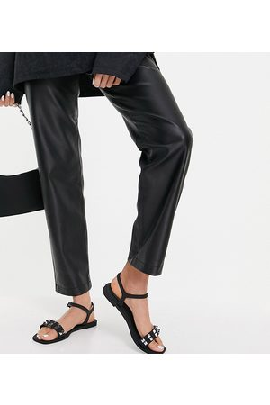 Truffle Collection Wide fit studded flat jelly sandals in black