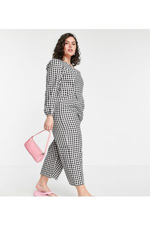 Daisy Street Jumpsuit with lace up back in gingham check