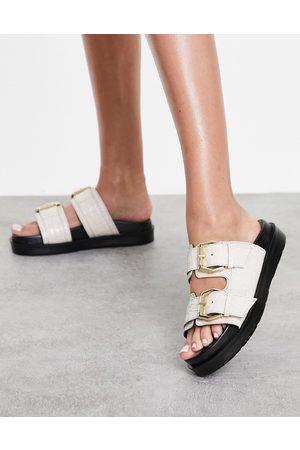 Schuh Mujer Sandalias - Tash leather double strap slide sandals in ecru croc