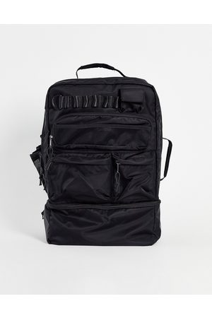 ASOS Backpack in black nylon with multi pockets and laptop compartment 30 Litres