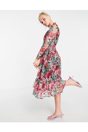 Little Mistress Long sleeve frill detail skater midi dress in rose floral