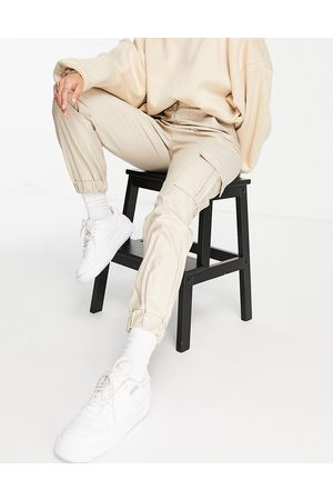 Parisian Mujer Leggings y treggings - PU joggers with pocket details in stone