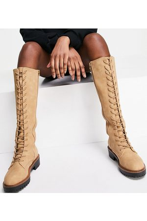 ASOS Wide Fit Courtney chunky lace up knee high boots in sand