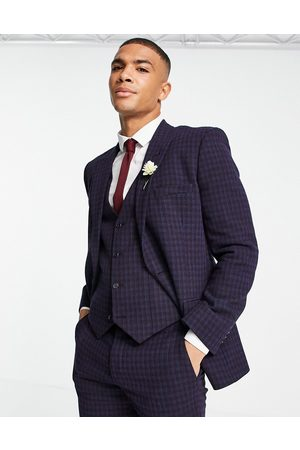 ASOS Hombre Sacos - Wedding super skinny wool mix suit jacket with navy grid check